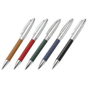 送料無料・ロット50以上/名入れ・販促品 牛革グリップメタルペン|a-e-shop925