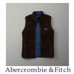 Abercrombie & Fitch アウター ジャケット レトロフリースベスト メンズ 本物保証 Sherpa Vest ブラウン|a-freeshop