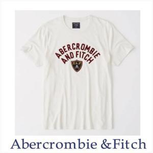 アバクロ メンズ Tシャツ 半袖 Abercrombie&Fitch 新作 正規品 アップリケTシャツ クリーム|a-freeshop