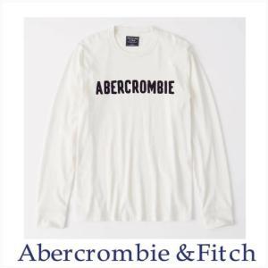 アバクロ メンズ 長袖Tシャツ Abercrombie&Fitch 正規品 プリント長袖Tシャツ ホワイト|a-freeshop