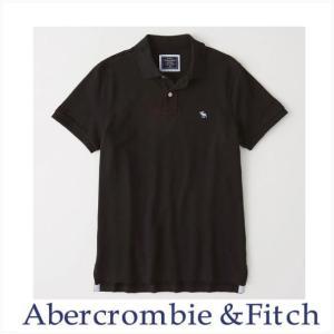 アバクロ ポロシャツ メンズ Abercrombie&Fitch 正規品 Moose刺繍 ストレッチ アイコンポロシャツ ブラック|a-freeshop