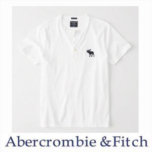アバクロ メンズ 半袖 ヘンリー Abercrombie&Fitch 正規品 半袖 ビッグアイコン ヘンリーシャツ ホワイト|a-freeshop