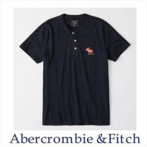 アバクロ メンズ 半袖 ヘンリー Abercrombie&Fitch 正規品 エクスプローデッド アイコンヘンリーシャツ ネイビーブルー|a-freeshop