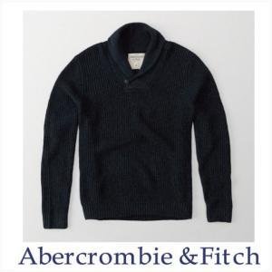 アバクロ Abercrombie&Fitch ムース刺繍 ニット セーター Marled Icon Sweater ネイビーブルー|a-freeshop