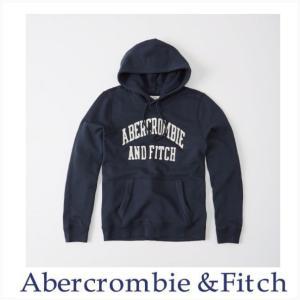 アバクロ メンズ パーカー プルオーバーフ―ディー Abercrombie&Fitch 正規品 Logo Hoodie ネイビー ホワイトロゴ|a-freeshop