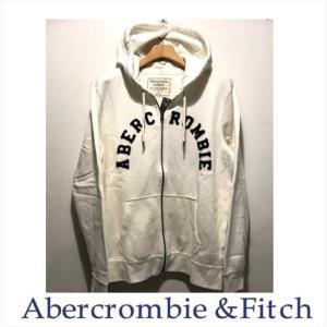 【ジャンク品】 アバクロ メンズ パーカー Abercrombie&Fitch 正規品 アップリケ付きジップアップパーカー ホワイト|a-freeshop