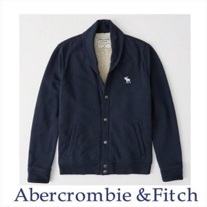 アバクロ メンズ ジャケット Abercrombie&Fitch 正規品 裏ボア ショールカラーカーディガン ボンバージャケット ネイビー|a-freeshop