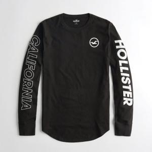 ホリスター HOLLISTER 新作 メンズ 長袖 ロンT  プリントロゴ グラフィックTシャツ バックロゴ ブラック