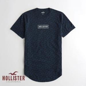 ホリスター HOLLISTER メンズ Tシャツ 半袖  クルーネック プリントロゴ グラフィックTシャツ ネイビー柄 a-freeshop