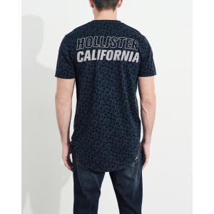 ホリスター HOLLISTER メンズ Tシャツ 半袖  クルーネック プリントロゴ グラフィックTシャツ ネイビー柄 a-freeshop 04