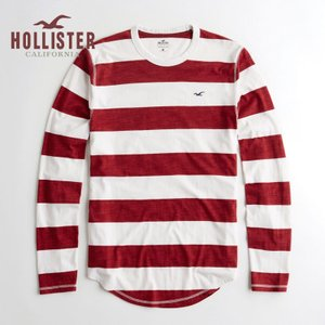 ホリスター HOLLISTER 新作 メンズ 長袖 ロンT  マストハブ クルーネックTシャツ レッドストライプ
