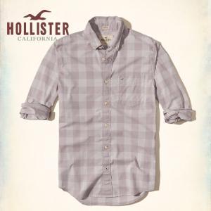 ホリスター HOLLISTER 新作 ネルシャツ メンズ 長袖 パターンドストレッチ ポプリンシャツ パープル
