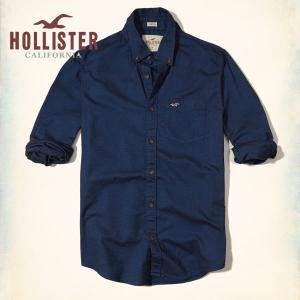 ホリスター HOLLISTER 新作 メンズ 長袖 ボタンダウン ストレッチ オックスフォードシャツ ネイビー