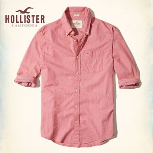 ホリスター HOLLISTER 新作 メンズ 長袖 ボタンダウン ストレッチ ポプリンシャツ レッド