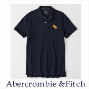 アバクロ ポロシャツ メンズ Abercrombie&Fitch 正規品 ビッグMoose刺繍 エクスプローデッドアイコン ストレッチポロ ネイビー|a-freeshop