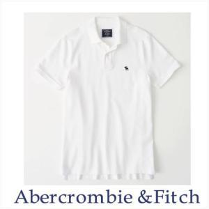 アバクロ ポロシャツ メンズ Abercrombie&Fitch 正規品 Moose刺繍 ストレッチ アイコンポロシャツ ホワイト 124-227-0900-100|a-freeshop
