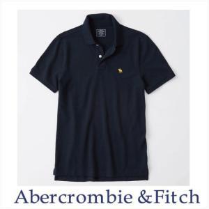 アバクロ ポロシャツ メンズ Abercrombie&Fitch 正規品 Moose刺繍 124-227-0908-200 ストレッチ アイコンポロシャツ ネイビーXイエロー|a-freeshop