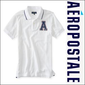 エアロポステール ポロシャツ Tシャツ メンズ AEROPOSTALE 半袖 アップリケ Varsity Felt A Logo Pique Polo 8282 ホワイト