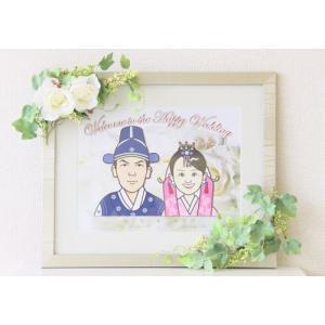 結婚式オリジナルウェルカムボード 似顔絵・造花付|a-haru