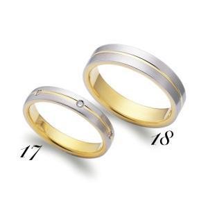 No18 LANVIN ランバン メンズ マリッジリング  Pt950 K18YG プラチナ イエローゴールド  サファイヤ 保証書付 結婚指輪 指輪 リング|a-inoko