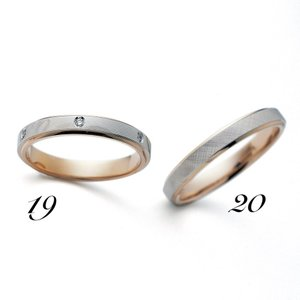 No20 LANVIN ランバン メンズ マリッジリング  Pt950 K18PG プラチナ ピンクゴールド サファイヤ 保証書付 結婚指輪 指輪 リング a-inoko
