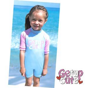(GETUP CUTE) スイムスーツ CSS-36110 LT.BLUE×PINK ラッシュガードスーツタイプ 七分袖 ベビー ガールズ UVカット 水着 スイムウェア 2016SS|a-k-k