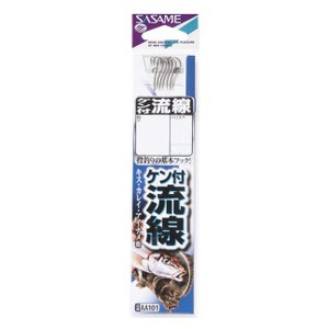 【SASAME/ササメ】ケン付流線白糸付 AA101 鈎 フック 糸付き ケン付き キス カレイ アイナメ|a-k-k
