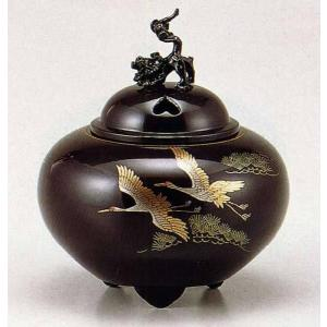 香炉 蒔絵   138-55 平丸獅子蓋 双鶴 床の間 置物 仏具 銅 ブロンズ