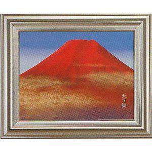 額 絵画 赤富士 日本画 滝 雅洋 「F-6」 掛軸 掛け軸|a-kakejikujp