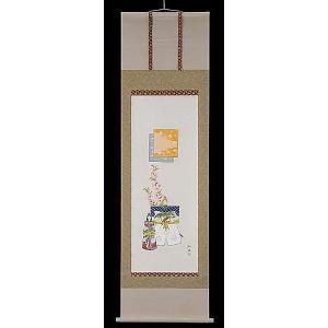 掛け軸 立雛 奥田吟水 美術年鑑掲載作家 尺五 掛軸 全国送料無料|a-kakejikujp