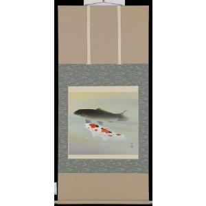 掛軸 双鯉 川島正行 号:5万2千 尺八横 掛け軸|a-kakejikujp