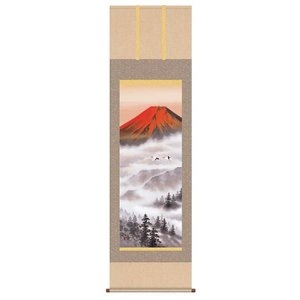 掛け軸 赤富士飛翔 熊谷千風 掛軸|a-kakejikujp