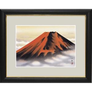 額 和の雅び 伝統の趣 加藤洋峯 開運画  赤富士 絵画|a-kakejikujp