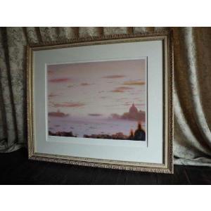 絵画 ヒロ、ヤマガタ ベニスの夕べ 版画 シルクスクリーン  全国送料無料|a-kakejikujp