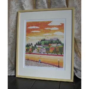 畭辰雄(はりたつお)運河と丘の町 限定版画 作家サイン有り 絵画|a-kakejikujp
