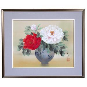 掛軸 田中芳園 花瓶牡丹 絵画 掛け軸 日本画 美術名典掲載作家|a-kakejikujp