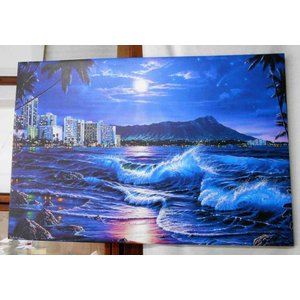 ラッセンはこの技法を海の景色、夕日、日の出、夜の海等の作品に使用しています。