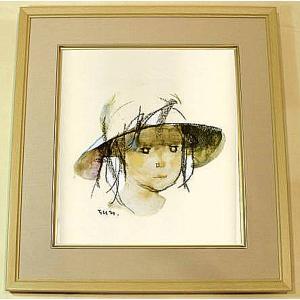 絵画 いわさきちひろ 帽子の少女  額 児童画 色紙 送料無料|a-kakejikujp