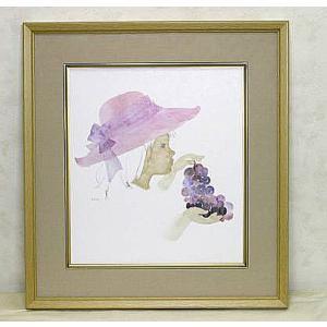 絵画 いわさきちひろ ぶどうを持つ少女 額 児童画 色紙 送料無料|a-kakejikujp