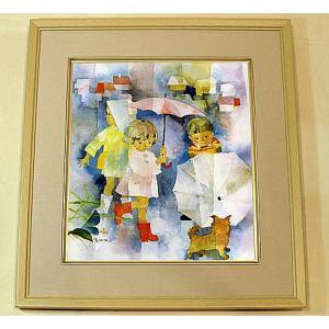絵画 いわさきちひろ 子犬と雨の日の子どもたち 額 児童画 色紙 送料無料|a-kakejikujp