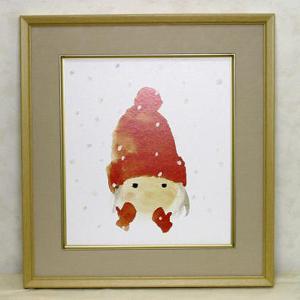 絵画 いわさきちひろ 赤い毛糸帽の少女 額 児童画 色紙 送料無料|a-kakejikujp