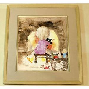 絵画 いわさきちひろ 暖炉の前でネコを抱く少女 額 児童画 色紙 送料無料|a-kakejikujp