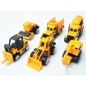 DIECAST◇フォークリフト、ショベルカー、トラックなどの建設車1/64ダイキャストミニカー6個セ...