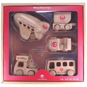 日本航空 おもちゃ かわいいエアプレーングッズ 空港で働く乗り物 木製ひこうきセット JAL MT4...