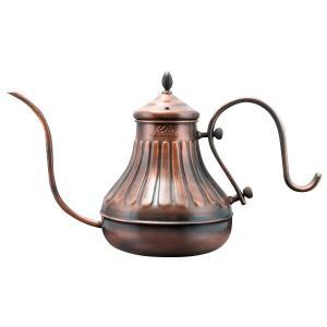 形もオシャレなドリップポットです。銅は熱伝導性がよく温まりやすいため、何度も注ぎ分けるハンドドリップ...