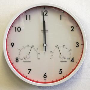 温湿度計付 電波 掛け時計 温湿度計付き LC09−11W 掛時計