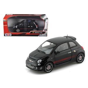 アバルト ミニカー 1/24 モーターマックス Fiat Abarth 500 Black Diecast Car Model by Motormax|a-mondo2