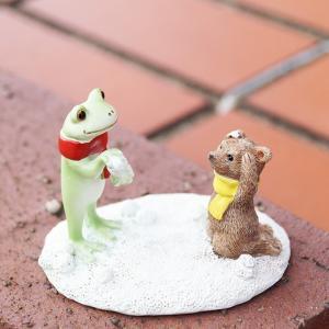 コポー Copeau かわいい カエルの置物 カエルとクマの雪合戦 a-oluolu