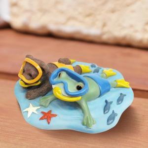 コポー Copeau かわいい カエルの置物 カエルとクマの海中遊泳 かえる 蛙 雑貨 ガーデニング a-oluolu