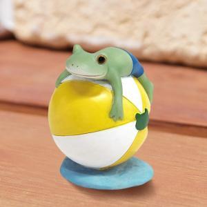 コポー Copeau かわいい カエルの置物 ビーチボールでぷかぷか かえる 蛙 雑貨 ガーデニング a-oluolu